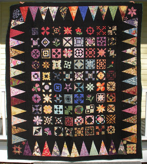 Dear Jane quilt with black background