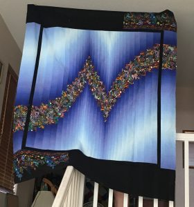 two color bargello in blue