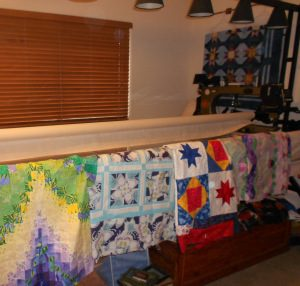 unifinished objects in my quilting room