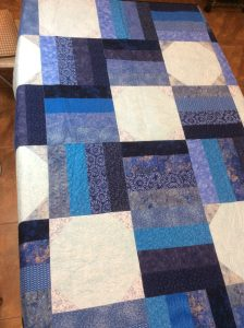 monochromatic blue free motion quilting