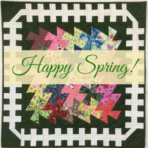 Happy Spring title on Garden Twister quilt